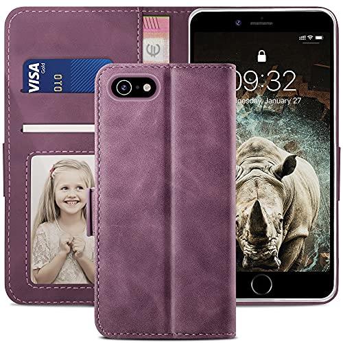 YATWIN Funda Compatible para iPhone 6 Plus, Cuero Premium Flip Folio Compatible para iPhone 6 Plus, Ranura para Tarjeta, Cierre Magnético, Funda Libro Compatible para iPhone 6 Plus, Vino Rojo