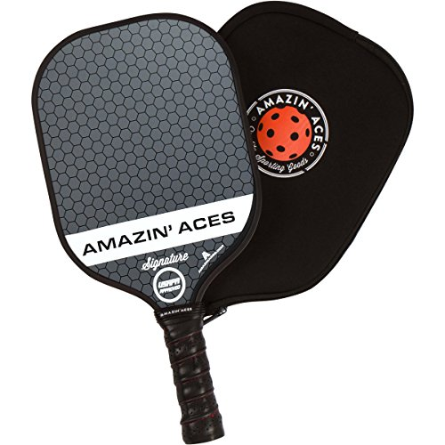 Amazin' Aces Signature Pickleball Paddle | USAPA Approved | Graphite Face & Polymer Core | Premium Grip | Includes Paddle, Paddle Cover & eBook | Single Paddle (Gray)