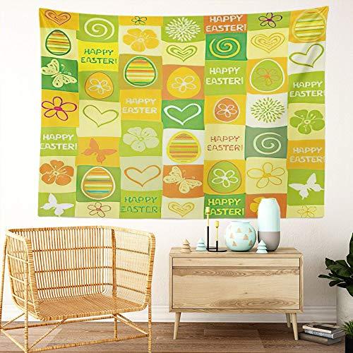 Y·JIANG Tapiz de Pascua, diseño de mariposa, huevo de Pascua, diseño de flores de dibujos animados para el hogar, dormitorio, 203 x 152 cm