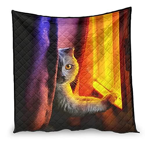 Zhenxinganghu Manta para aire acondicionado de gato en la ventana, ultrasuave, manta para bebé para sofá cama toda la temporada, color blanco, 130 x 150 cm