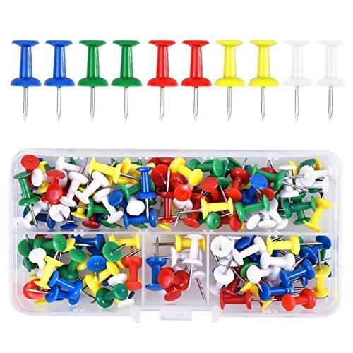 Fodlon 100 Pièces Multicolores Punaises, Punaises Décoratives Multicolores, Punaises à tête en Plastique pour Tableau d'affichage en liège