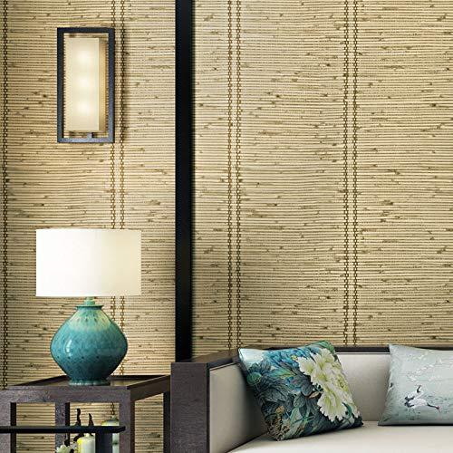 Rotoli di carta da parati a motivi geometrici 3D Design, carta da parati in stile tenda di bambù in stile giapponese, TV Home Decor,Bamboogreen,53cm*950cm