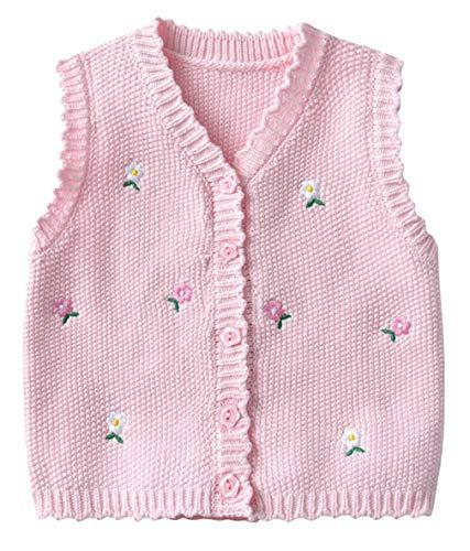 EOZY Baby Mädchen Weste Pullunder V-Ausschnitt Strickweste Blumen Ärmellose Strickjacke Top Pink 80