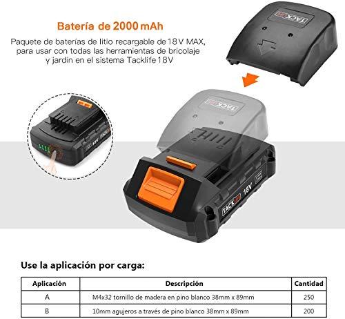 TACKLIFE Taladro Percutor 18V, Taladro eléctrico percusión, 2.0Ah de Litio, 13mm Mandril Automática, 2 Velocidades, 16 Configuraciones, 3 Posiciones Taladrado PCD04C