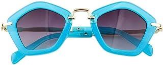 QPRER - Gafas De Sol,Azul Polígono Forma Espejo Clásico Niña IR De Compras Gafas De Sol Verano Niños Diario Al Aire Libre Gafas Niño Junto Al Mar Decoraciones para Fiestas Cumpleaños Día del Niño