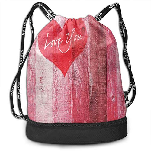 NoBrand Drawstring Backpack String Bag Casual, D2746 Love You Heart On Grunge Style Rustic Wooden Background Valentines Day Retro Artsy Print