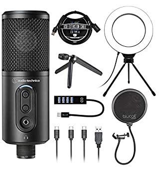 Audio-Technica ATR2500x-USB Cardioid Condenser Microphone  ATR Series  for Windows and Mac Bundle with Blucoil Pop Filter 6  Dimmable Selfie Ring Light USB-A Mini Hub and 3  USB Extension Cable