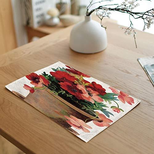 32x45cm Placemats for Dining Table 4-Pcs, Cotton linen Placemats for Dining Table Washable Green Red Flower Pots