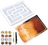 KKSJK Bandeja de resina epoxi, rectangular, bandeja de servir de silicona, set de moldeado de resina con copos dorados, pincel y pinzas, molde de resina para manualidades