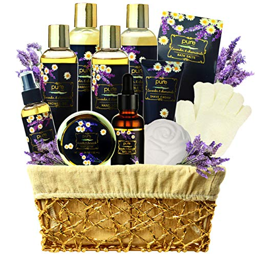 Lavender Chamomile Natural Spa Gift Basket, Lavender Aromatherapy Luxurious Bath and Body Gift Set 8 Piece Home Spa Kit. Best Relaxing Gift Basket for Mom as Mothers Day Gift Set!