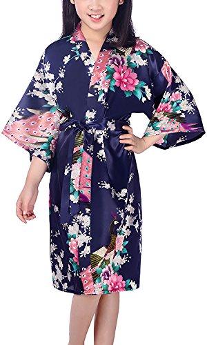 Dolamen Kinder Mädchen Morgenmantel Kimono, Satin Nachtwäsche Bademantel Robe Peacock Blume Kimono Negligee Seidenrobe locker Schlafanzug für Spa, Schwimmen Hochzeit Geburtstag Pyjamas (12, Blau)