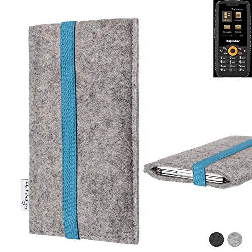 flat.design Handy Hülle Coimbra für Ruggear RG150 - Schutz Case Tasche Filz Made in Germany hellgrau türkis