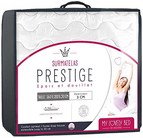 My Lovely Bed - Correttore materasso | Topper Prestige Matrimoniale - Matrimoniale (160x200 cm) - Altezza 3CM - 100% Cotone - Rinnova il materasso -