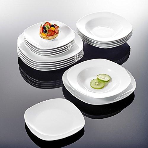 MALACASA Serie Elisa, 18-TLG. Set Porzellan Tellerset Geschirrset Tafelservice mit je Speiseteller Essteller, Kuchenteller Dessertteller, 6X Suppenteller Tiefteller für 6 Personen, GrauWeiß, teilig