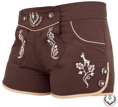 Monaco di Bavaria Originelle Damen Hotpants, Tracht, Lederbadehose, Freizeithose, Badelederhose (braun, XL)