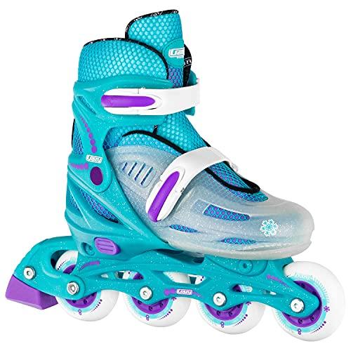 Crazy Skates Adjustable Inline Skates for Girls and Boys - Adjust to fit 4 Sizes - Model 148 - Teal / Purple (Size: Small | US Mens j11-1 | US Ladies j11-1 | EU 30-33)