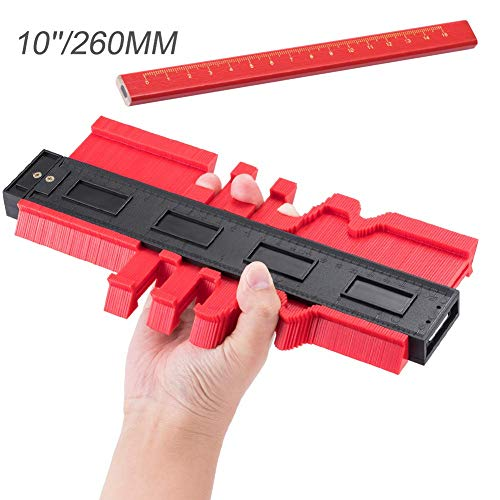 Contour Duplicator Gauge,JTENG Profilo Strumento di Misurazione,10 Pollici Professionale per la Misurazione del Profilo Strumento di Misura irregolare Profile misuratore (+1pcs Matita) (Rosso)