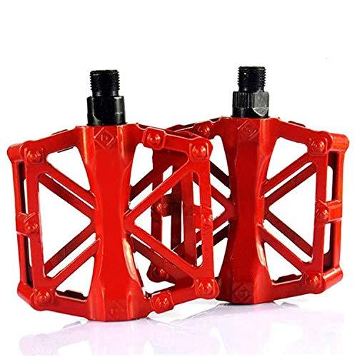 WELLXUNK® Pedales Bicicleta, Mountain Pedales Bicicleta, Bicicleta de MTB/BMX Pedales, Pedales de Bicicleta de Montaña Duraderos Ultraligeros Antideslizantes de Aluminio (Rojo)