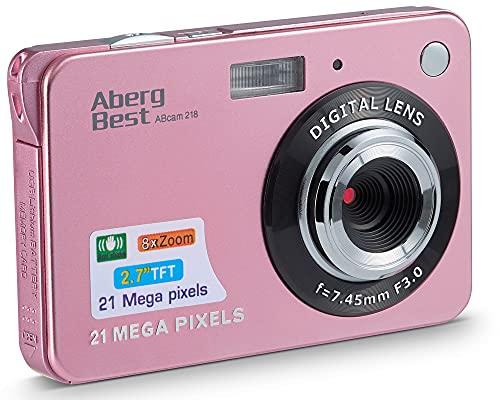 Compactas Cámaras Digitales AbergBest 2.7 LCD Recargable HD Cámara Digital para Estudiantes, niños, Adultos Interior y Exterior (Rosa)