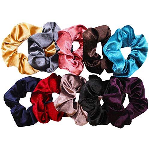 10Pcs Velours des cheveux,rétro bandeaux headbands et serre-têtes Élégant Multicolor Élastiques Bande de Cheveux Aucun Métal Élastiques Doux pour femme ou filles (Multicolore)