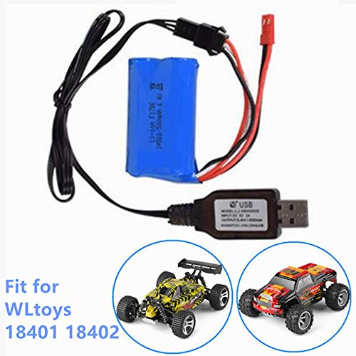 Rechargeable Lithium Battery 14500 X 2 500mAh 6.4V JST+SM3P Plug for WLTOYS 18401 18402 RC Car Household Electric Appliances Lighting Equipment with USB Charging Cable