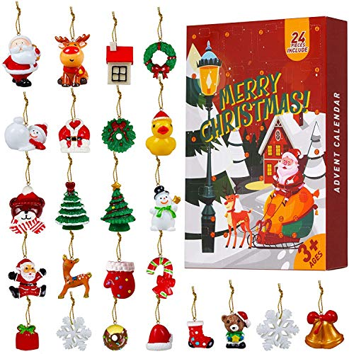 HusDow 24pcs Mini Resin Christmas Ornament Christmas Miniature Ornament with Golden String for Christmas Tree Decorations