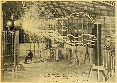JLYA Retro Poster Und Print Nikola Tesla Poster Spule Turbine Leuchtturm Pergament Stil Kunst Malerei Wandaufkleber 42X30 cm E043