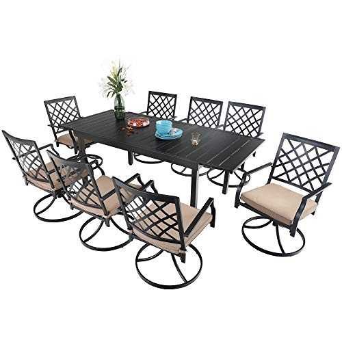 PHI VILLA 9 Piece Outdoor Furniture Dining Set, All-Weather Metal Steel Conversation Set Includes 8 Chairs and 1 Extendable Dining Table for Patio Garden Deck