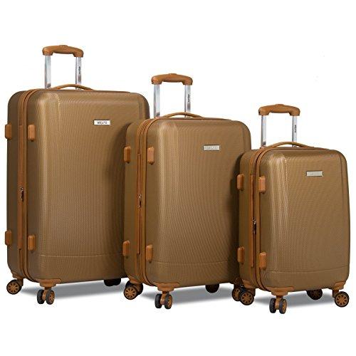 Dejuno Legion New Generation 3-pc Hardside Spinner TSA Combination Lock Luggage Set, Coffee