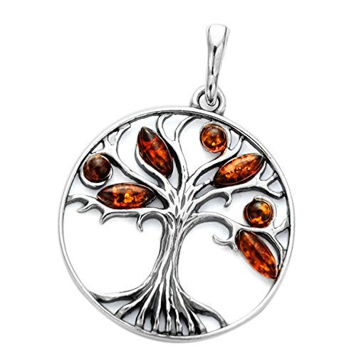 Bernsteinschmuck Lebensbaum Welbaum Anhänger 925 Silber Bernstein Schmuck Amulett Medaillon #1785