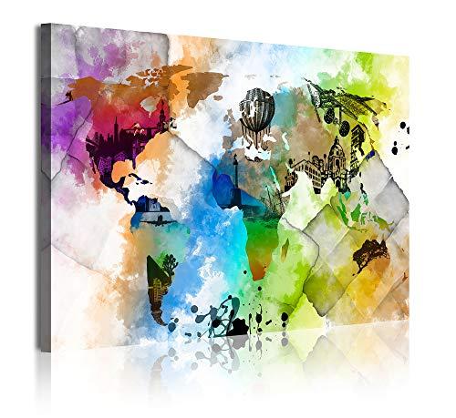 DekoArte 347 - Cuadros Modernos Impresión de Imagen Artística Digitalizada | Lienzo Decorativo para Tu Salón o Dormitorio | Estilo Mapamundi Mapa del Mundo Ciudades Acuarelas | 1 Pieza 120 x 80 cm