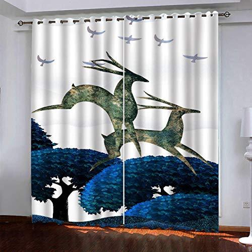 WLHRJ Cortina Opaca en Cocina el Salon dormitorios habitación Infantil 3D Impresión Digital Ojales Cortinas termica - 280x200 cm - Alce del Bosque Creativo
