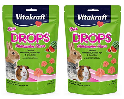 Vitakraft 2 Pack of Star Drops Treats, 4.4 Ounces Each, Watermelon Flavor, for Pet Rabbits, Guinea Pigs and Chinchillas