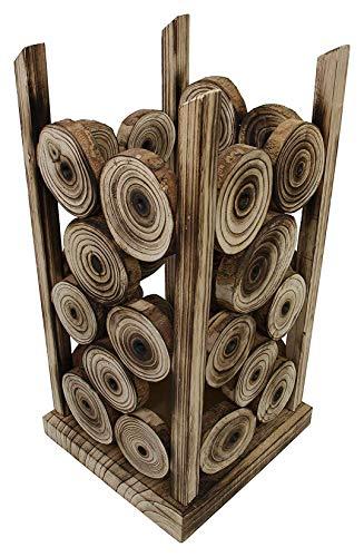 Dekoleidenschaft Design Schirmständer Wood aus Holz, geflammt, Regenschirmhalter mit Wasserauffangschale