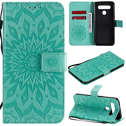 JUFENGYAO Caja Protectora de la Cuerda de Seguridad Girasol diseño de la impresión de la PU del tirón del Cuero de la Carpeta for LG K41S K51S (Color : Verde)