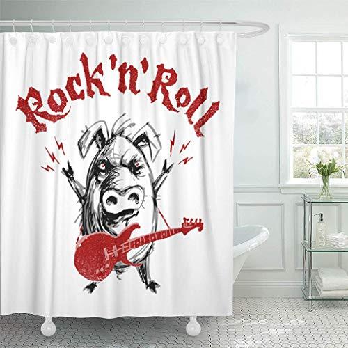 Leona Chesterton Dekorative Duschvorhang Gesicht Rock'n'Roll Schriftzug mit Cartoon Schwein RGB Global Colors Musik Angry Wasserdicht Mehltau Resistant Badezimmer Duschvorhänge Set mit Haken