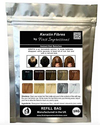 Recharge de fibre capillaire à la kératine 100 % naturelle pour perte de cheveux – Alopécie et chimiothérapie (1 kg/1000 grammes) (Marron clair)