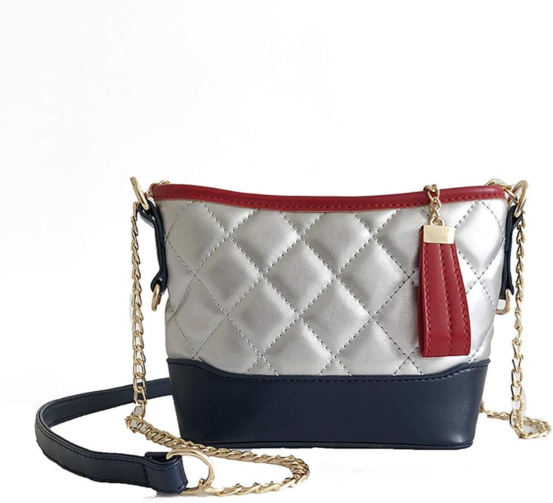 HUOXU Women's Crossbody Bag PU Leather Chain Shoulder Bag Exquisite Handbag Girl Chain Bag