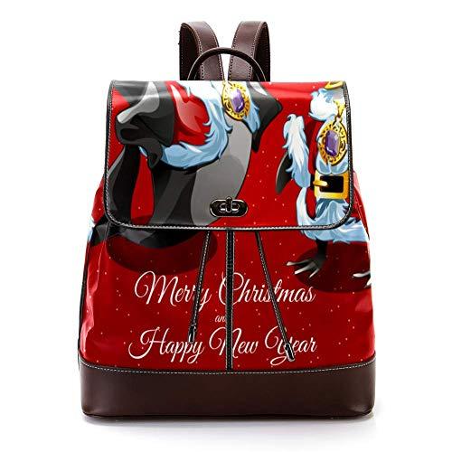 TIZORAX Wishes Merry Christmas from Sharks Santa and His Friend - Mochila de piel sintética para mujer, diseño de aves de corral