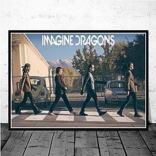 Flduod Imagine Dragon Evolution Origin Music Group Canvas Poster New Age Art Painting Utilizado para decoración de Arte de Pared interior-50x70cm / Sin Marco