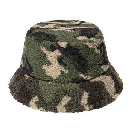 New Outdoor Multicolor Rainbow Letter Pattern Bucket Hats Women Winter Soft Warm Gorros Mujer -Camo