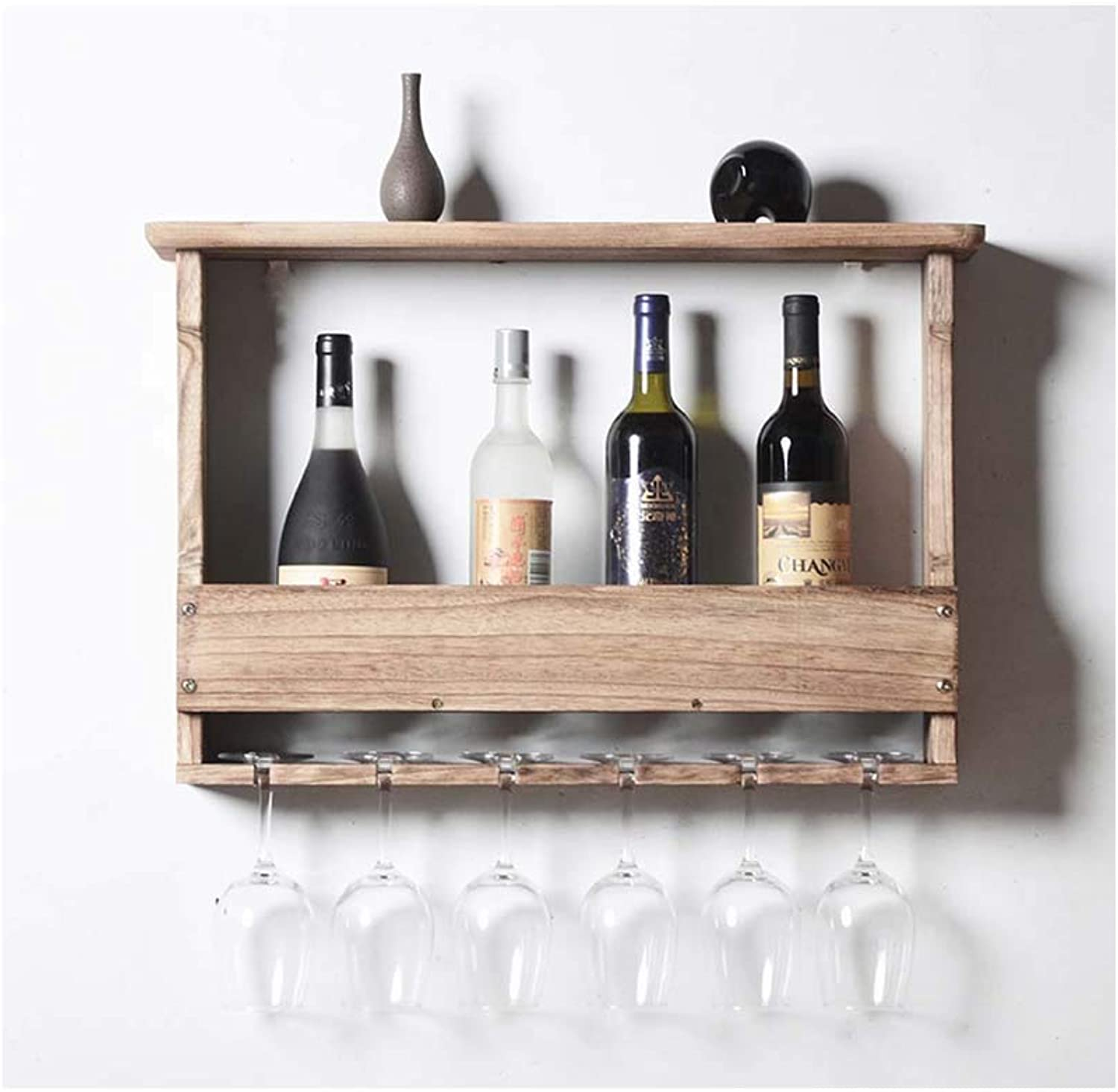 Wooden Wall-Mounted Wine Rack, Storage Wine Glass Champagne, Goblet Holder 60×12×44cm