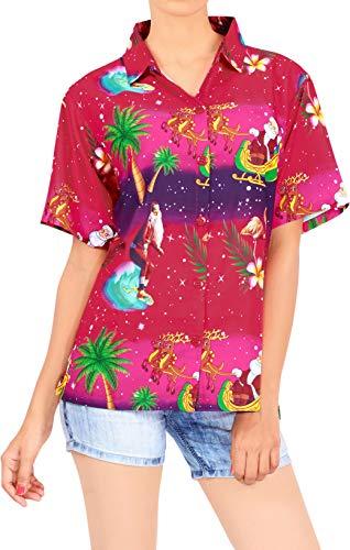 LA LEELA Strand Aloha Party lose Hawaii Hemd Christmas Kostüme Thema Santa Claus X-Mas Tree Weihnachtsmann Geschenke Weihnachtsdruck Urlaubs Party Rosa_X179 M - DE Größe :- 44-46