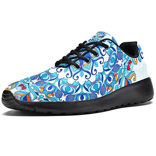 Zapatillas deportivas para correr para mujer Trippy Mandala azul floral moda zapatillas de malla transpirable caminar senderismo tenis zapatos, color, talla 41 EU