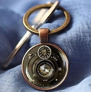 Llavero de cámara vintage, llavero de lente de cámara, llavero de cristal hecho a mano, llavero de fotógrafo,
