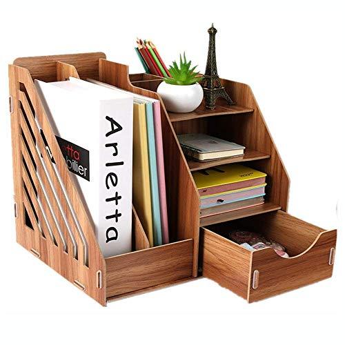 JJYGONG Desktop File Rack Titular de Madera Holder Organizer Desktop Rack Tray For A4 Paper Magazine And Document For Office School Organizador Multifuncional fuerte y robusto/Mar