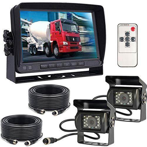 Sistema di monitoraggio della telecamera di backup del veicolo, 7 pollici TFT LCD Monitor +2x 18LEDs Impermeabile Visione Notturna Telecamera per retromarcia per bus/camion/rimorchio/roulotte/camper