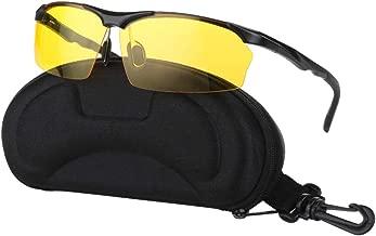 Night Driving Glasses Anti Glare Polarized Sunglasses for Women Men, Rainy Safe HD Night Vision Glasses with Yellow UV400 Lenses and Ultra Light Aluminum Frame, Glasses Case Included