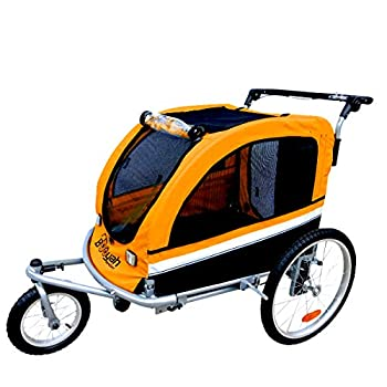 Booyah Large Pet Bike Trailer Dog Stroller & Jogger with Shocks - Orange