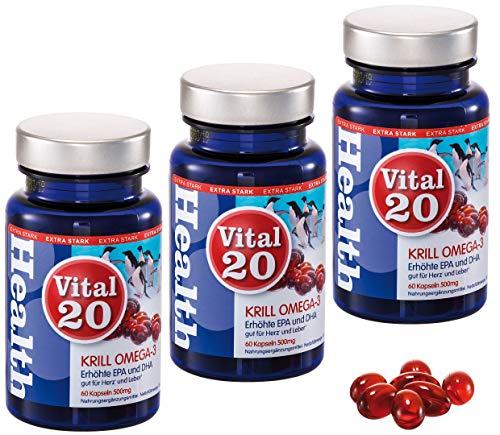 Krill Öl Omega 3 von Vital20 | Superba Boost | Extra hohe EPA & DHA Konzentration | 180 * 590mg Softgel Kapseln | Hergestellt in Deutschland | Gut für Herz und Leber (Health Claim) | MSC zertifiziert